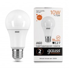 Лампа светодиодная A60 10Вт 3000К 880Лм Е27 Gauss Еlementary