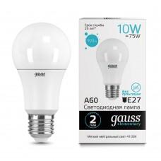 Лампа светодиодная A60 10Вт 4100К 920Лм Е27 Gauss Еlementary
