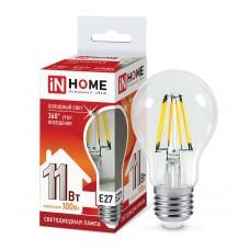 Лампа светодиодная A60 deco 11Вт 6500К 990Лм Е27 прозрачная IN HOME
