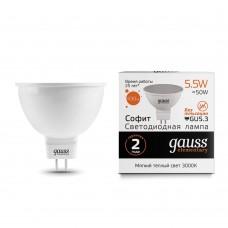 Лампа светодиодная MR16 5,5Вт 180-240В 3000К 430Лм GU5.3 мат.рас-ль Gausselementary
