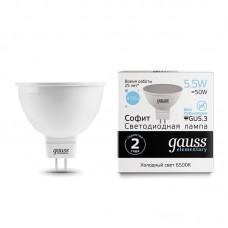 Лампа светодиодная MR16 5,5Вт 180-240В 6500К 470Лм GU5.3 мат.рас-ль Gauss Еlementary