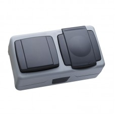 Блок о/п(выключатель 1кл+розетка з/к с крыш) IP55 цвет серый MAKEL