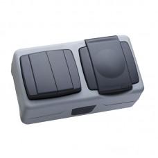 Блок о/п(выключатель 2кл+розетка з/к с крыш) IP55 цвет серый MAKEL