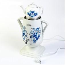 Самовар Добрыня DO-420 белый нж/керам (2200вт, 4л)+завар.чайн гжель